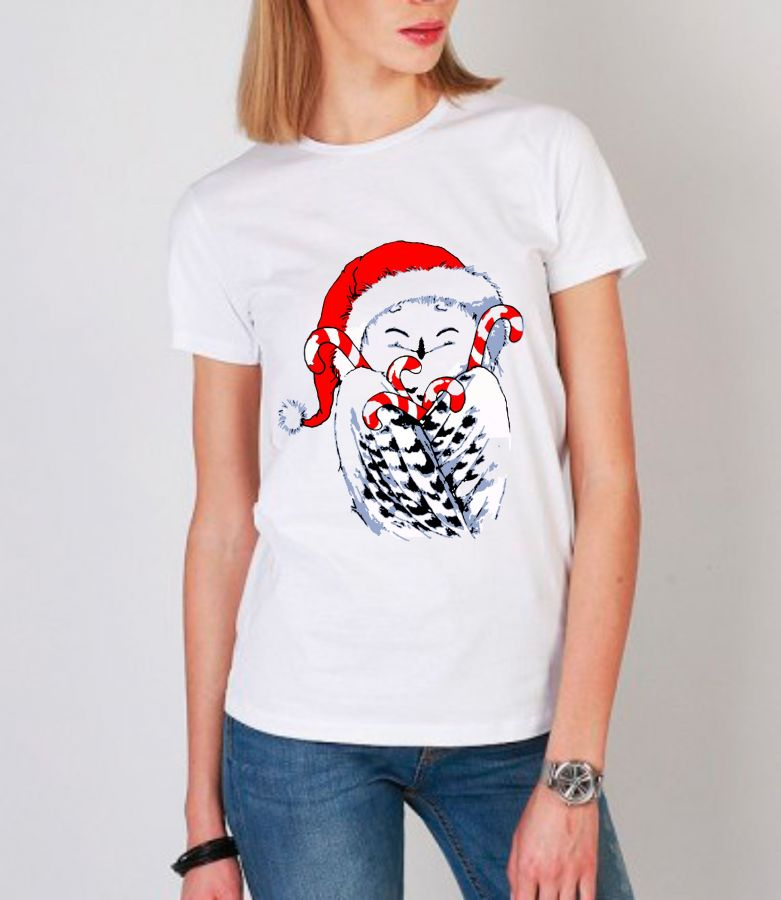 Новогодняя сова футболка женская