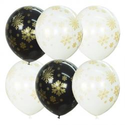 Снежинки Элит латексный шар с гелием