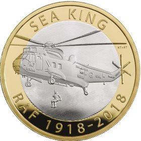 100 лет королевским ВВС - вертолет «Sea King»2 фунта Великобритания 2018 Буклет. На заказ