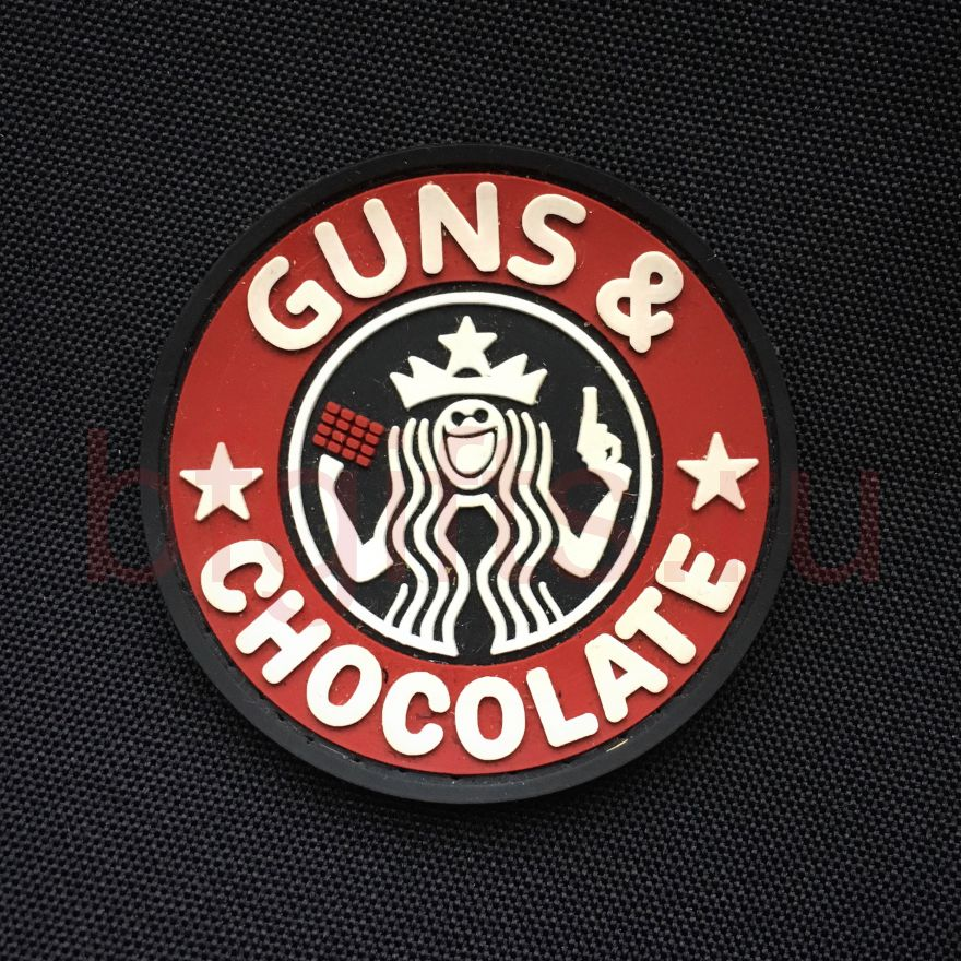 Патч I love guns & chocolate ПВХ
