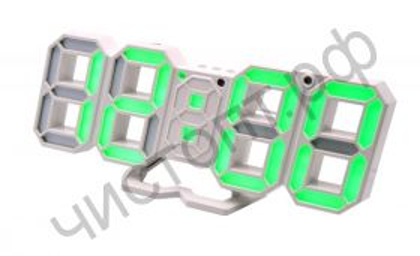 Часы  эл. сетев. VST883-4 зел.цифры +дата + темпер. (без блока) (5В)