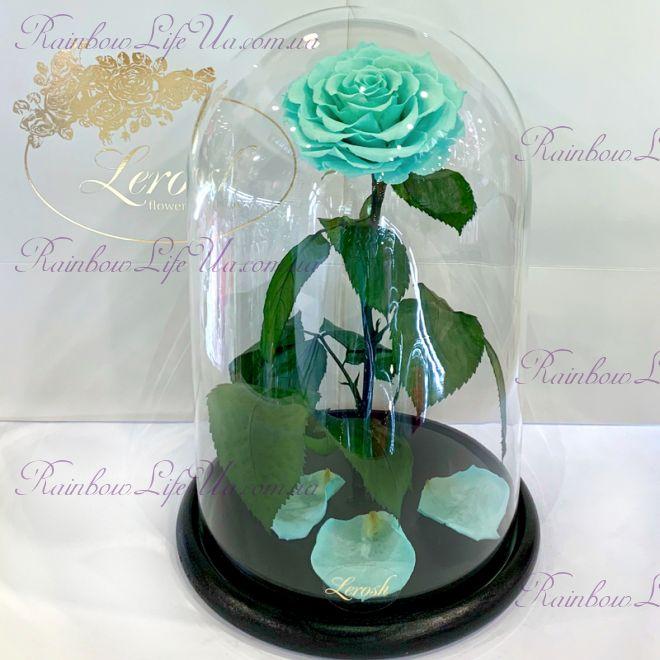 """Роза в колбе бирюзовая 33 см """"Lux"""""""
