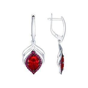 Серьги из серебра с корундами рубиновыми (синт.) и красными фианитами 84020030 SOKOLOV