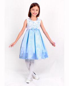 82625-ДН18 Платье нарядное голубое на девочку с белым гипюровым лифом Радуга дети