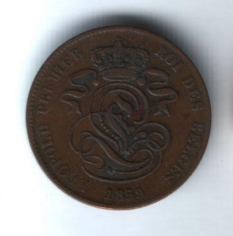2 сантима 1859 года Бельгия