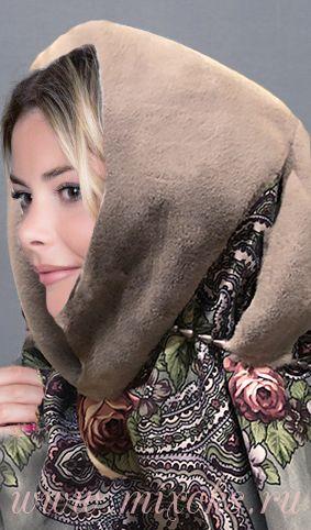 Платок капюшон с мехом серого цвета