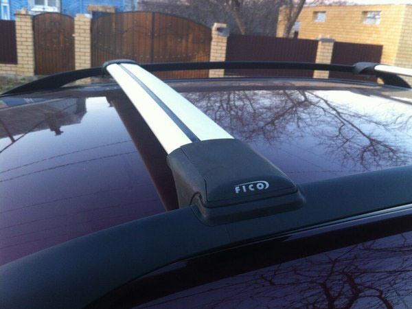 Багажник на рейлинги Skoda Yeti, FicoPro R-45, серебристый, крыловидные аэродуги