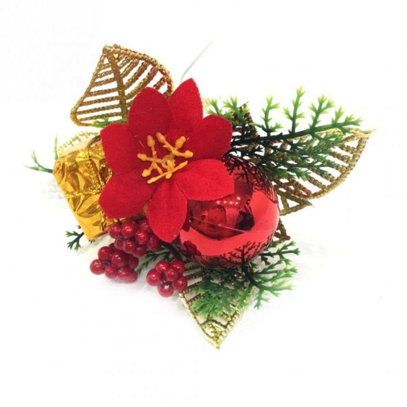 Новогодняя Декоративная Веточка С Рябиной И Пуансеттией, 24 См, Цвет Красный