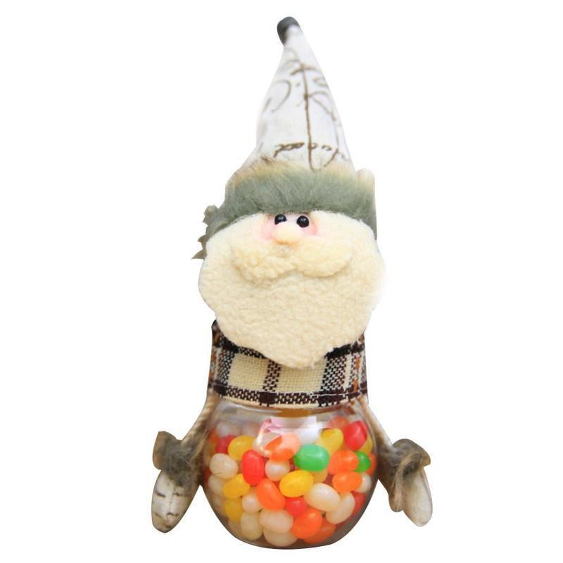 Новогодняя пластиковая банка с игрушкой для конфет, Снеговик