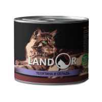Ландор для взрослых кошек телятина с сельдью 200г