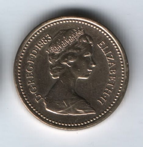 1 фунт 1983 года Великобритания UNC