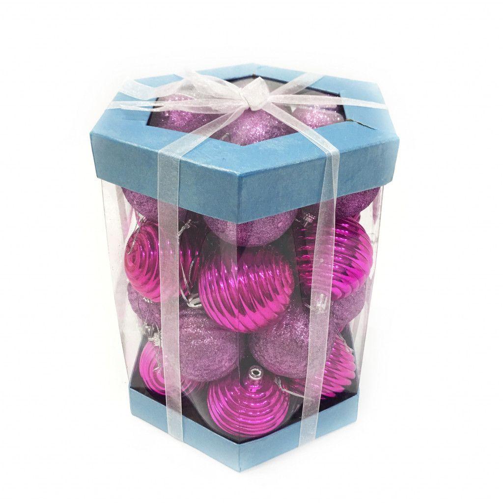 Набор елочных игрушек Шары 6 см, 28 шт, розовый темный