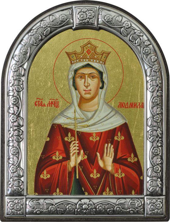 Икона Святая мученица Людмила Чешская (Греция, 13х10 см.)