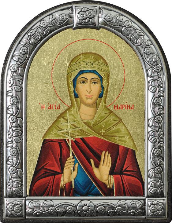 Икона Святая великомученица Марина (Греция, 13х10 см.)