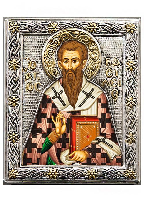 Икона Святитель Василий Великий (Греция, 19х15 см.)
