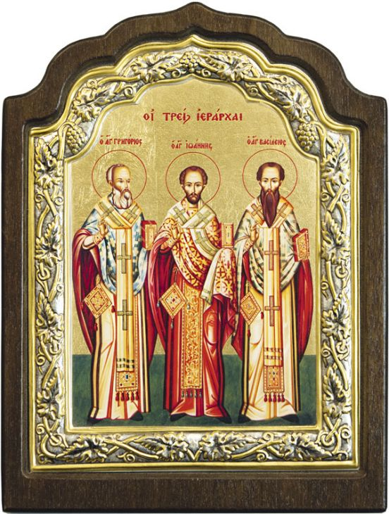 Икона Три Святителя (Греция, 16х11 см.)