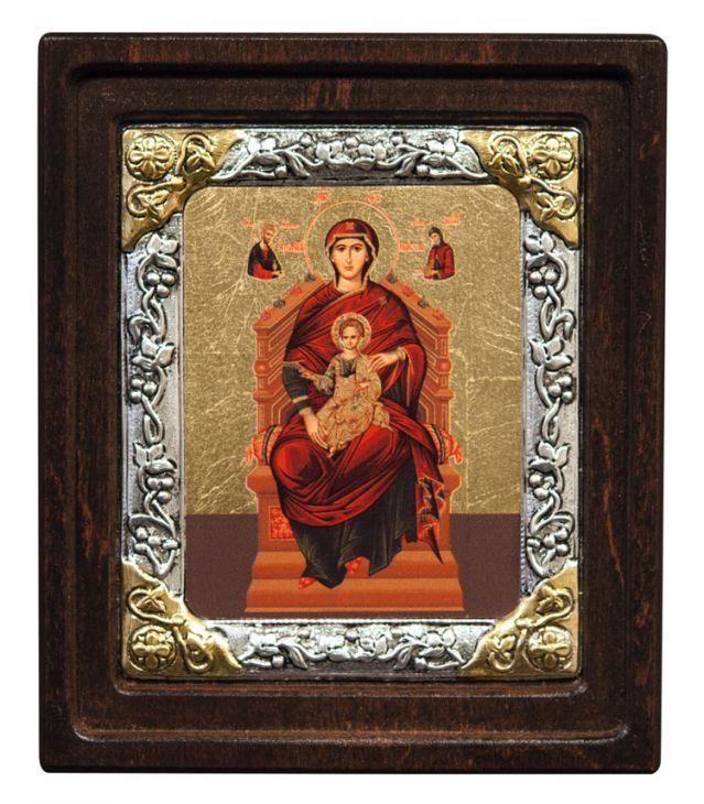 """Икона """"Богородица на троне"""" (Греция, 16х14 см.)"""