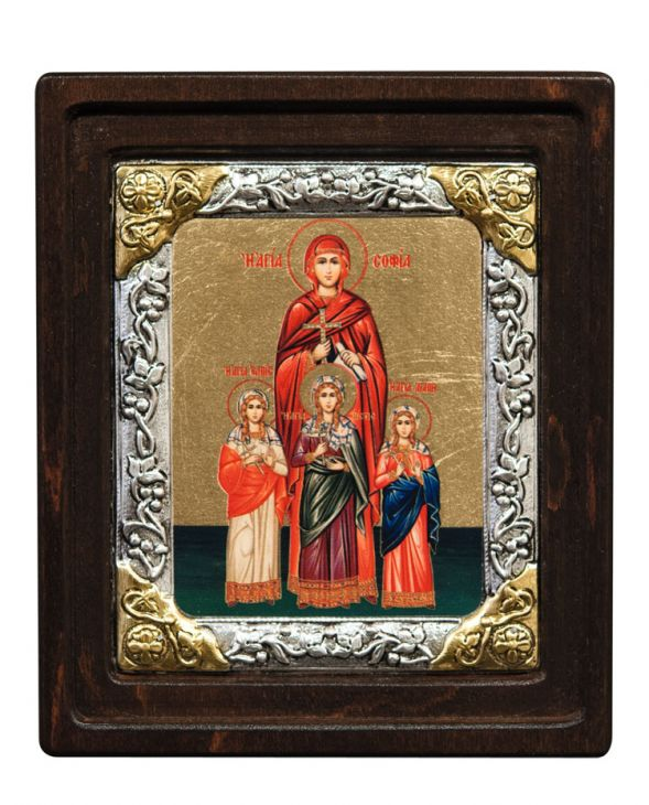 Икона Святые Вера, Надежда, Любовь и мать их София (Греция, 16х14 см.)