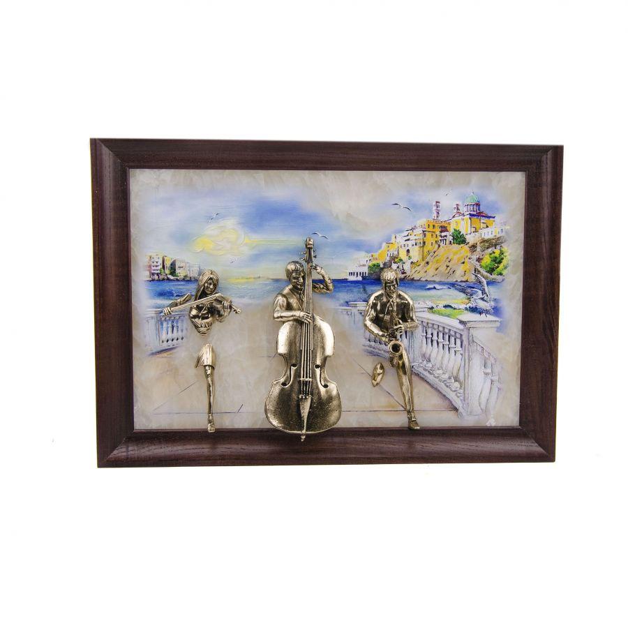 "Картина ""Трио"" на ониксе рисованная"