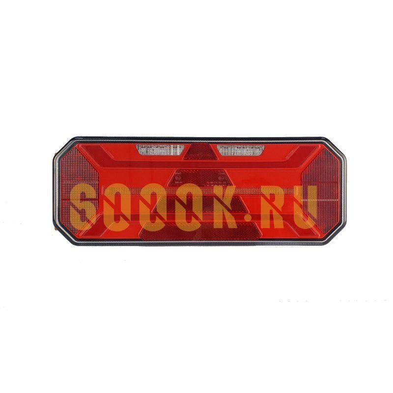 Правый светодиодный фонарь универсальный 20,2 Вт для грузовиков с подсветкой номера (катафот треугольник)