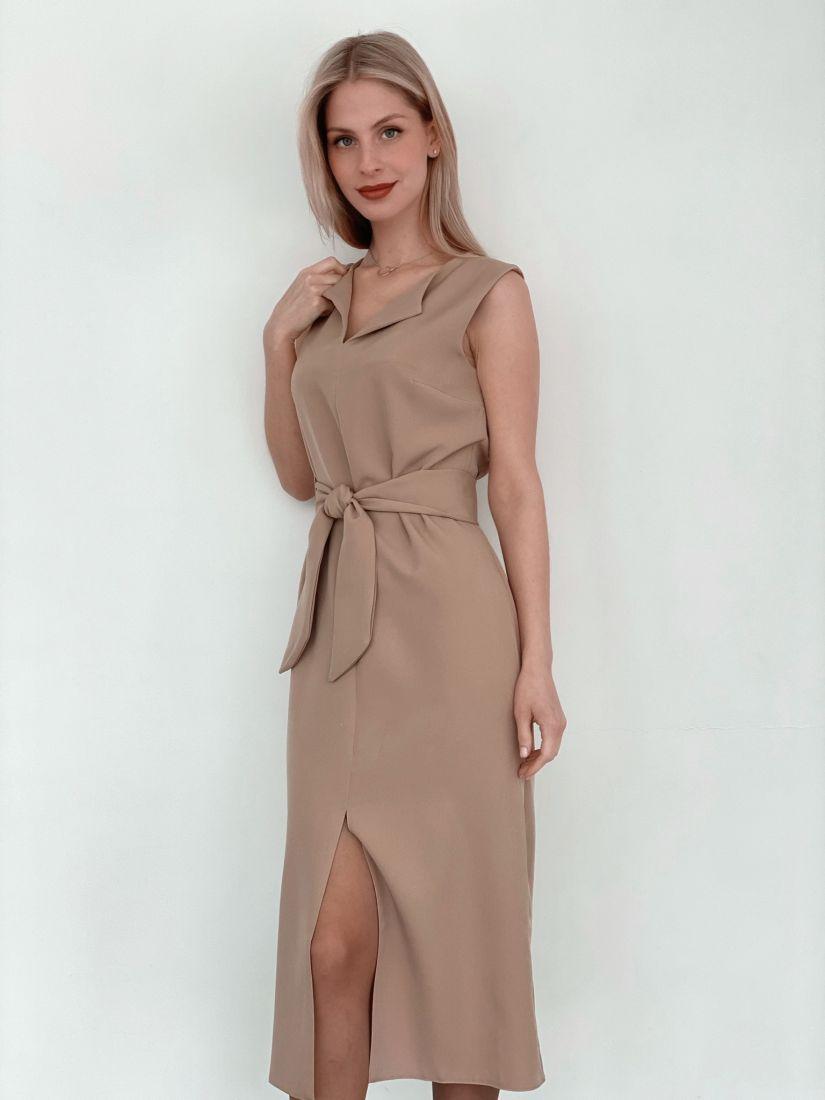 "s3761 Платье ""миди"" с разрезом бежевое"