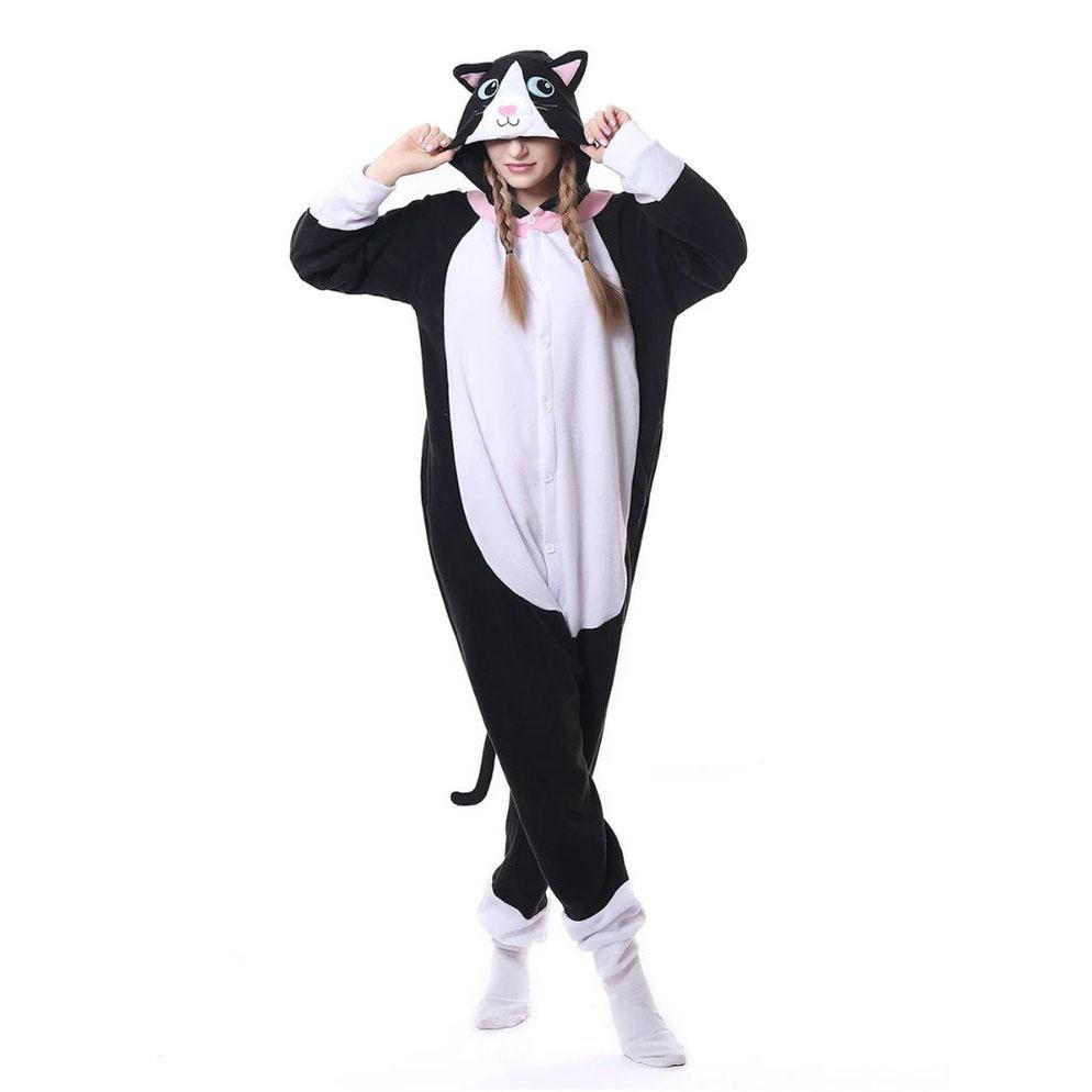 Детская Пижама Кигуруми Кошка Чёрно-Белая