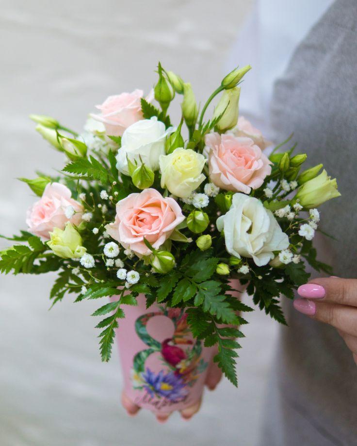 """Композиция с цветами в стаканчике """"8 марта"""""""