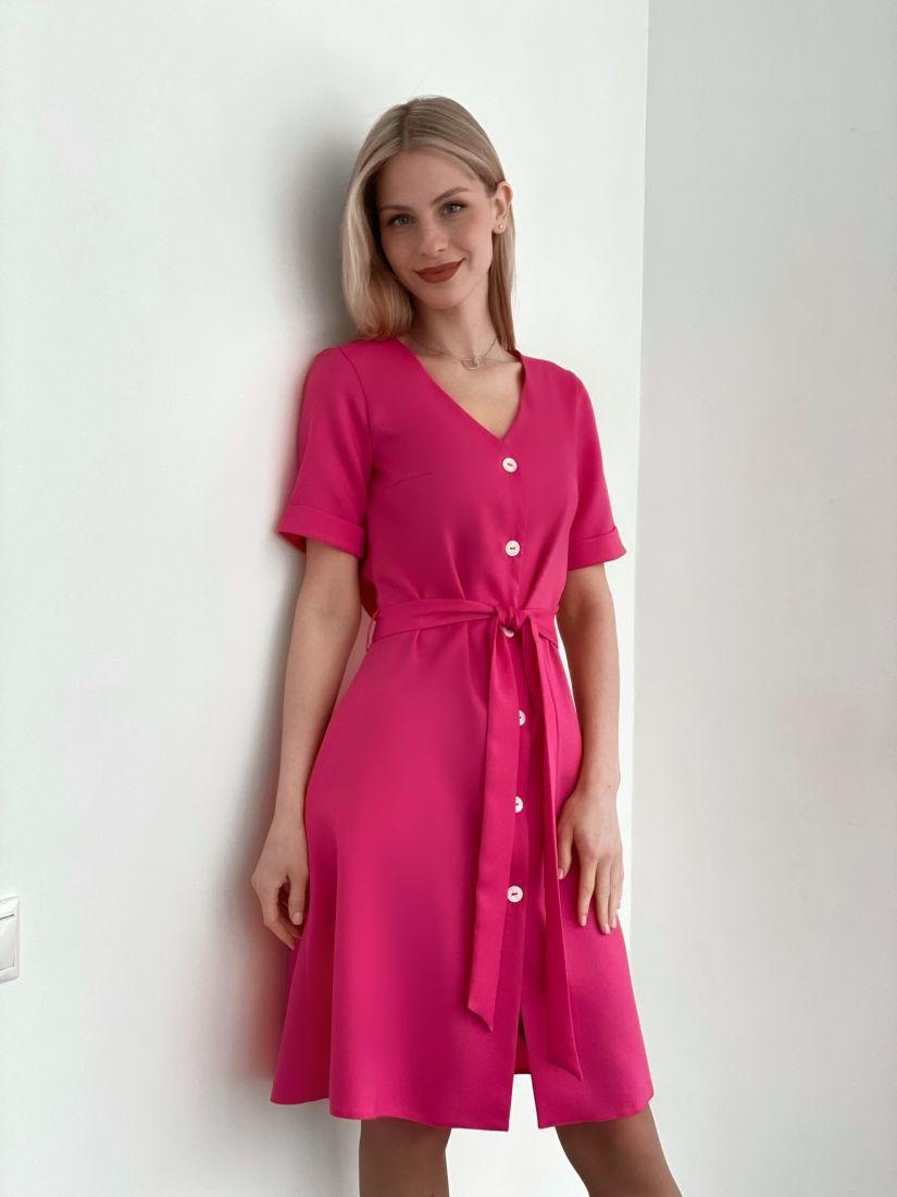 s3768 Платье на пуговичках ярко-розовое