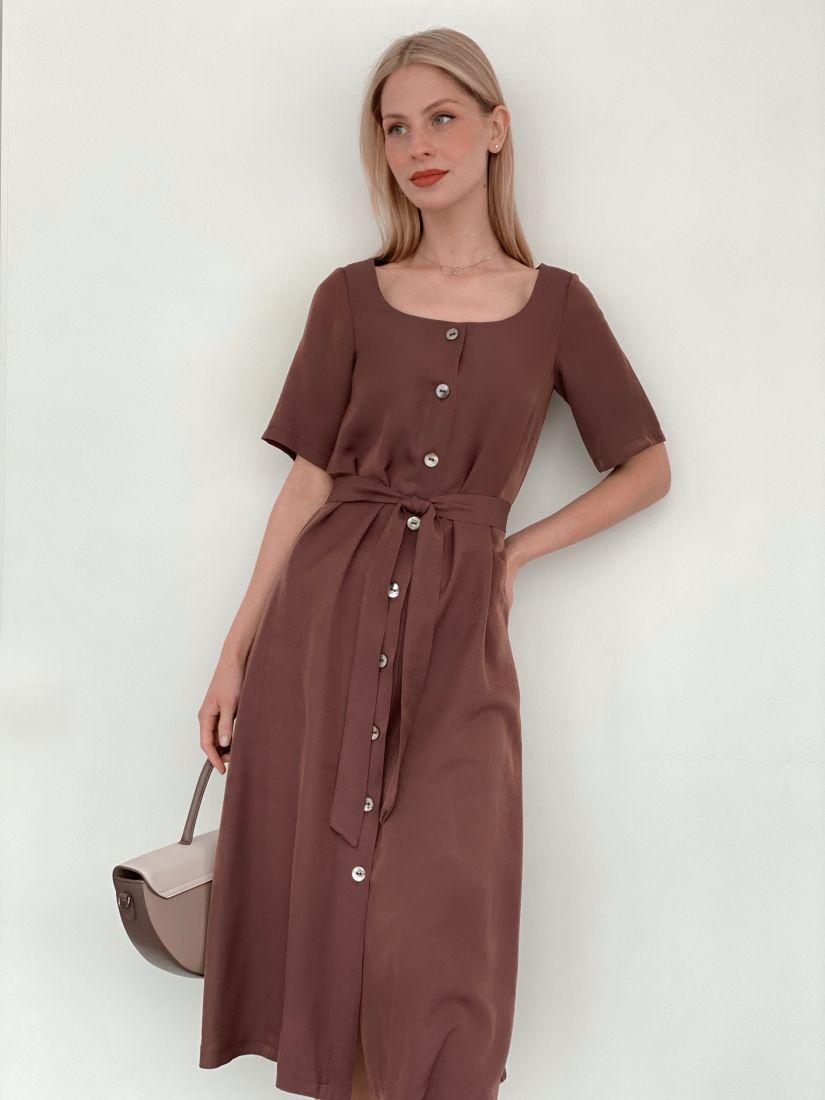 """s3744 Платье на пуговичках с вырезом """"каре"""" шоколадное"""