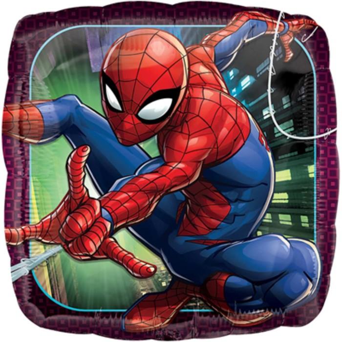 Человек паук квадратный шар фольгированный с гелием