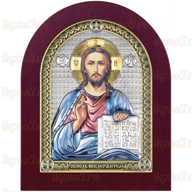 Икона Спас Вседержитель цветная эмаль с деревянной рамкой (Иисус Христос)