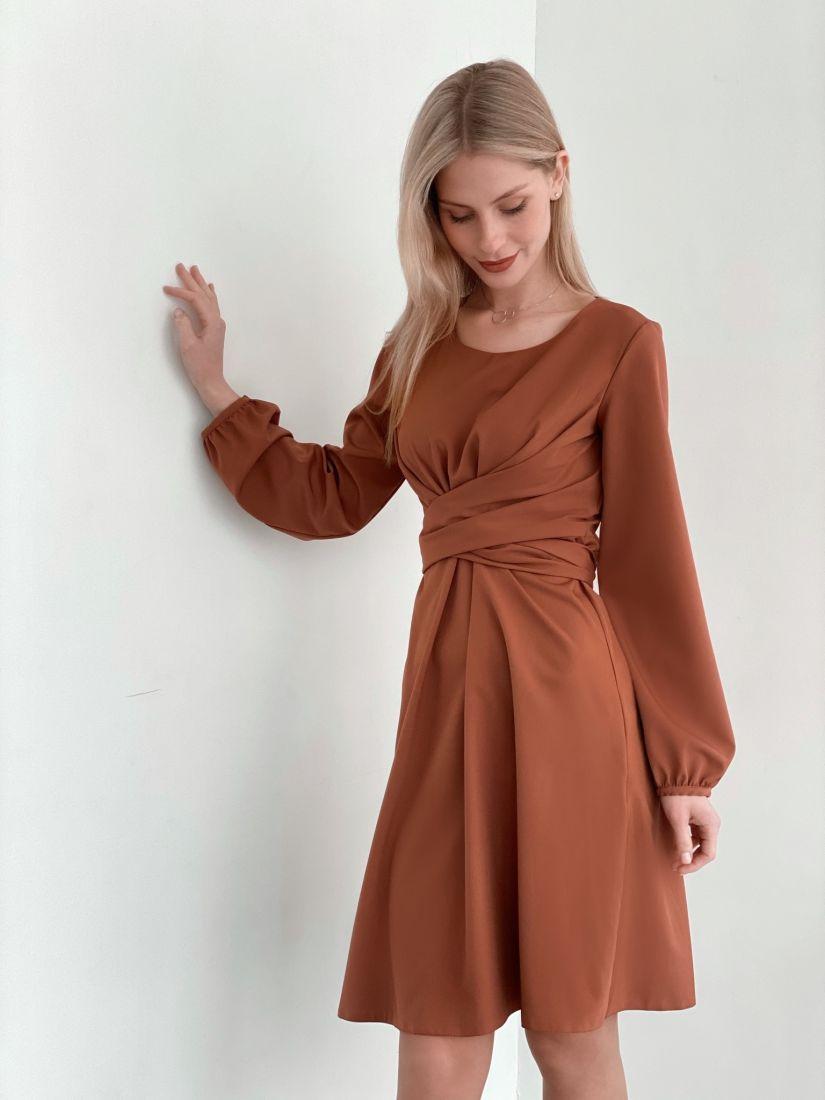 s3771 Платье с перекрутами в цвете терракот