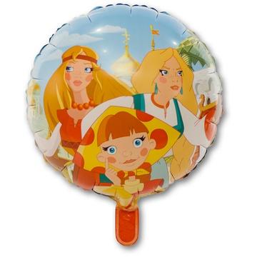 Три Богатыря и Царевны двухсторонний круглый шар фольгированный с гелием