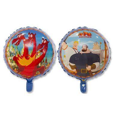 Три Богатыря и Змей Горыныч круглый двухсторонний шар фольгированный с гелием