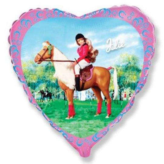 Кукла на лошадке шар сердце фольгированный с гелием