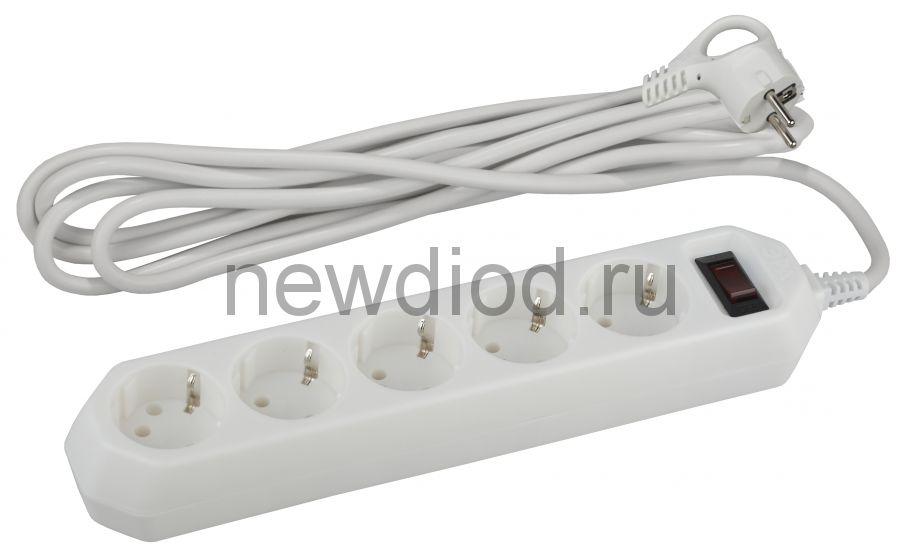 Сетевой фильтр USF-5es-3m-W  ЭРА (белый) с заземл, 3x0,75мм2, с выкл, 5гн, 3м