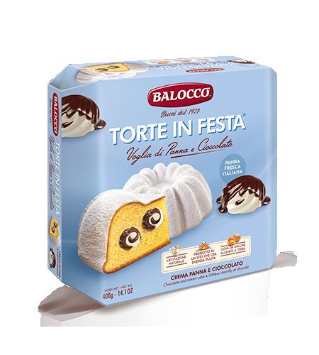 Торт Сливки и шоколад 400 г, Torta in festa Voglia di panna e cioccolato Balocco, 400 gr