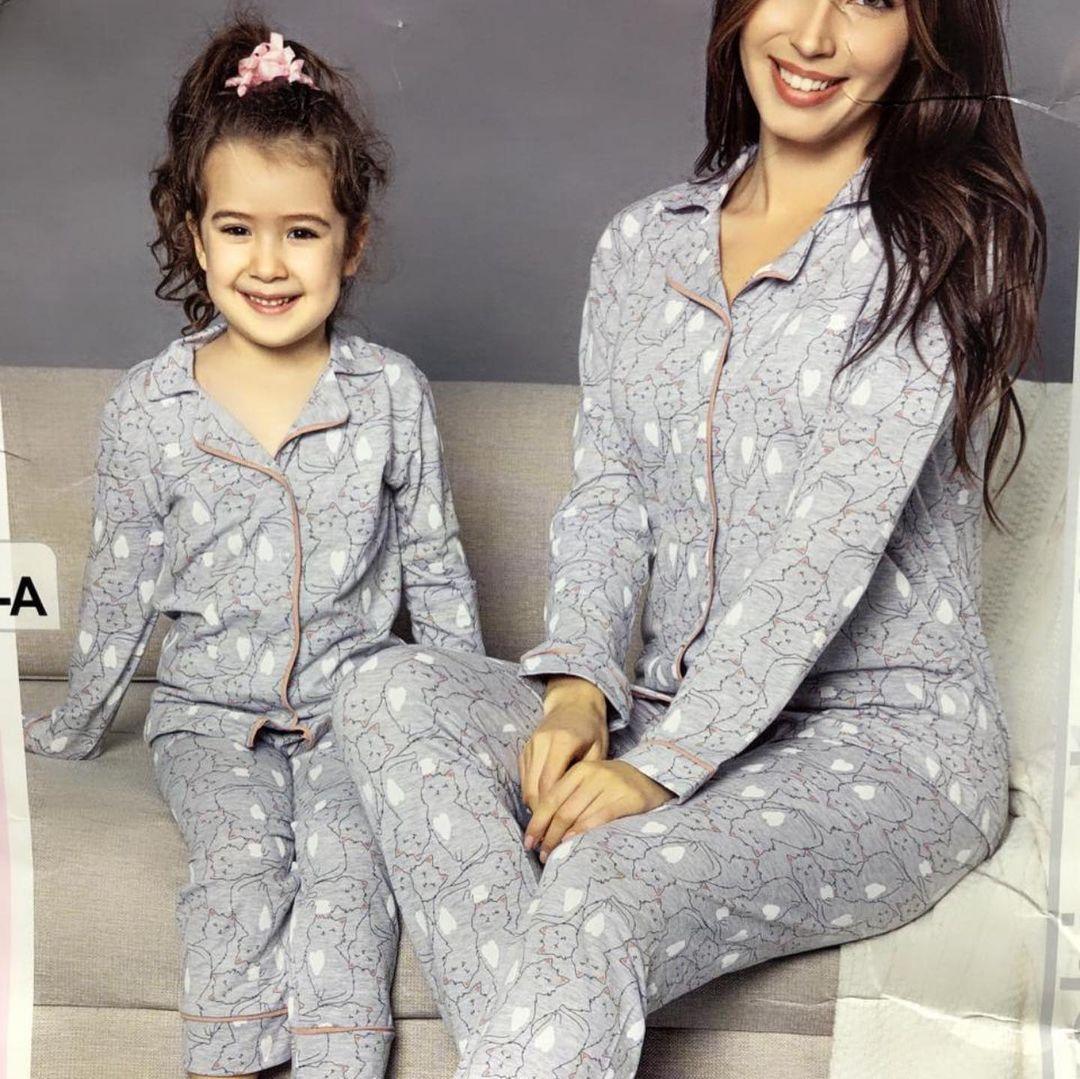 Хлопково-трикотажная пижама, для мамы и дочки