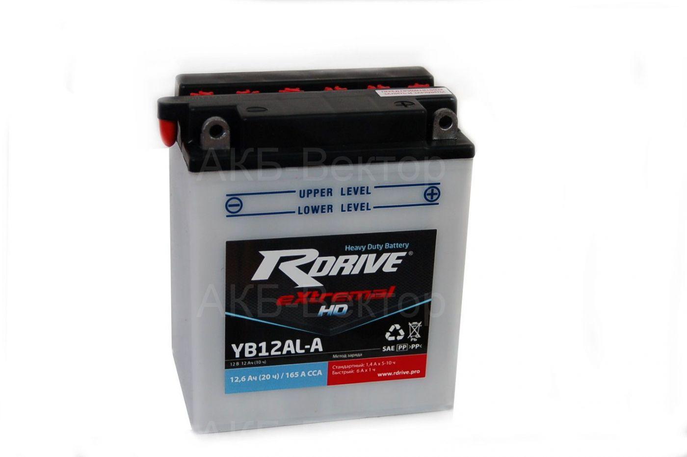 rDrive eXtremal HD YB12AL-A2 (12Ач) (Heavy duty dry)+acidpack
