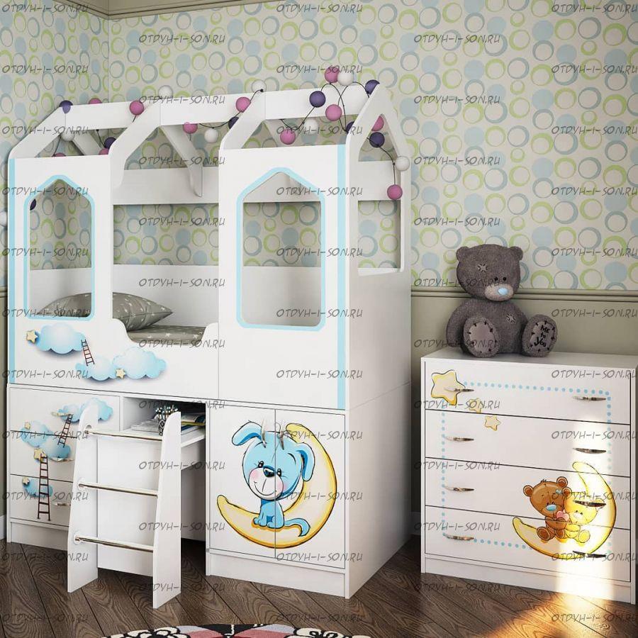 Кровать-чердак Домик с лесенкой ДС-14 (80х160)