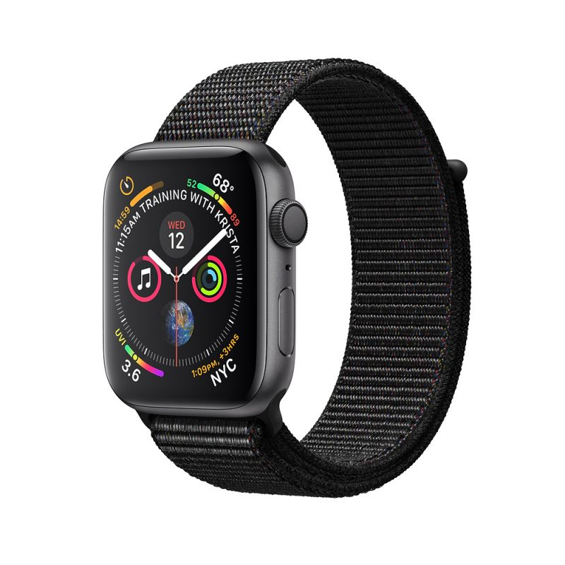 Apple Watch Series 4 44mm (GPS) Space Gray Aluminum Case with Black Sport Loop (MU6E2)