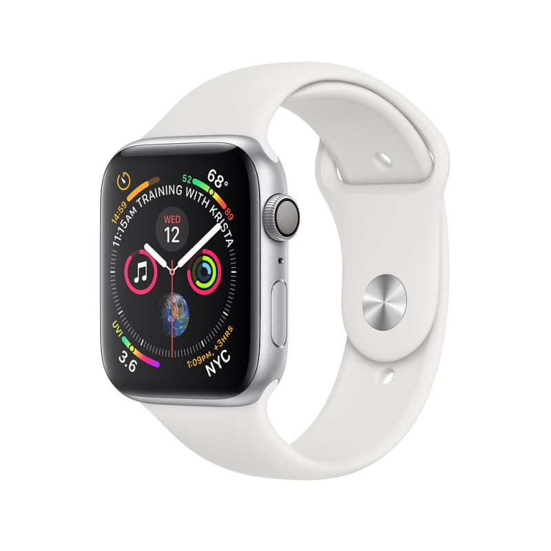 Apple Watch Series 4 44mm (GPS) Silver Aluminum Case with White Sport Band (MU6A2)