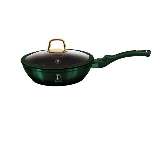 BH-6049 Emerald Collection Metallic Line Глубокая сковорода со стеклянной крышкой 24см
