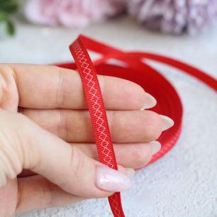 Репсовая лента декоративная - Красная с ромбиками 6 мм