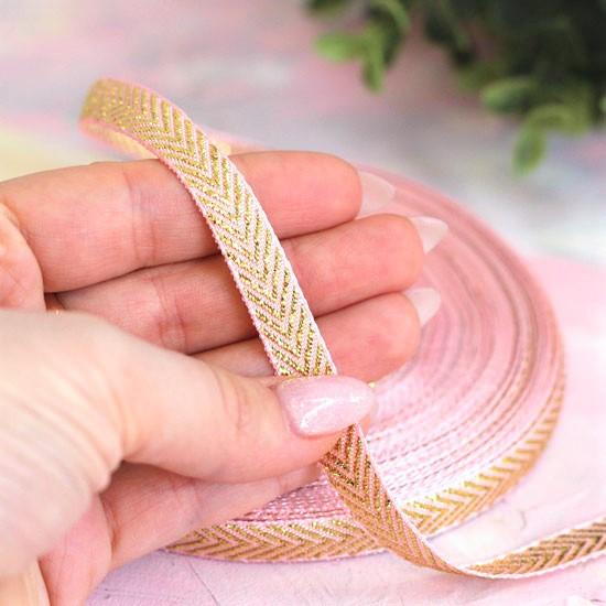 Репсовая лента декоративная - Нежно-розовая с золотой елочкой 10 мм