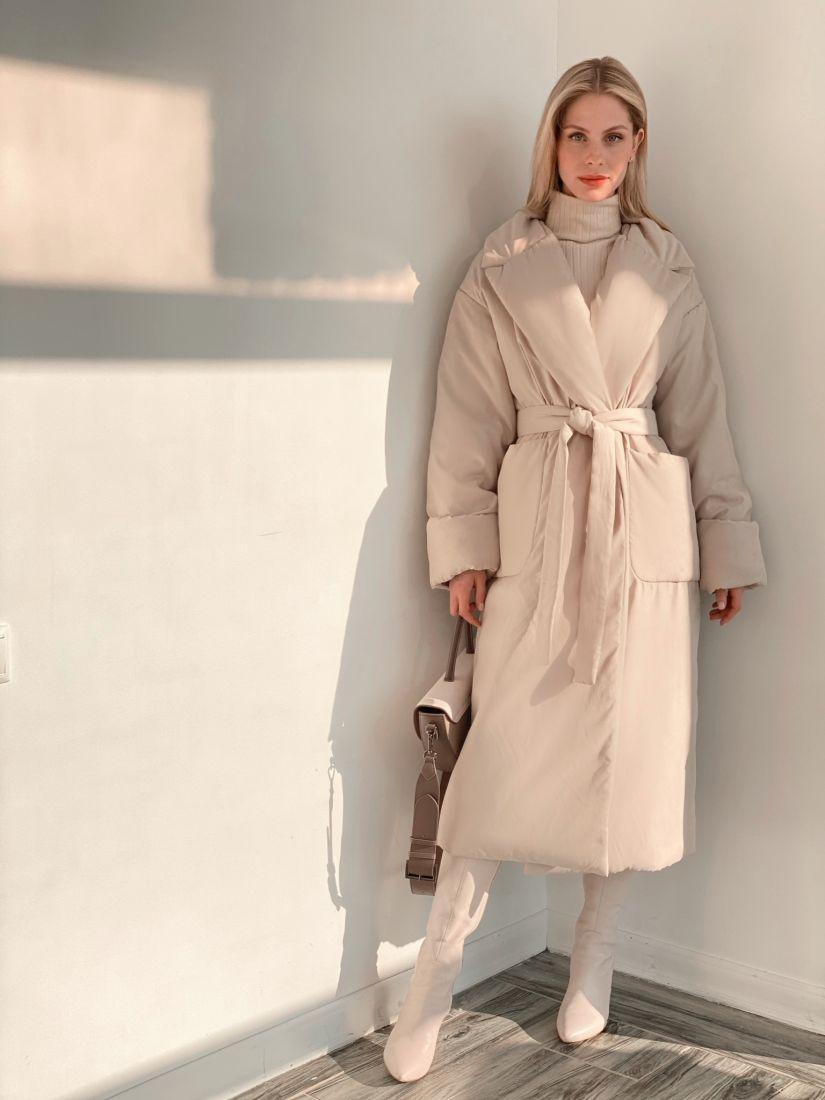 """s3794 Пальто утеплённое в цвете """"айвори"""""""