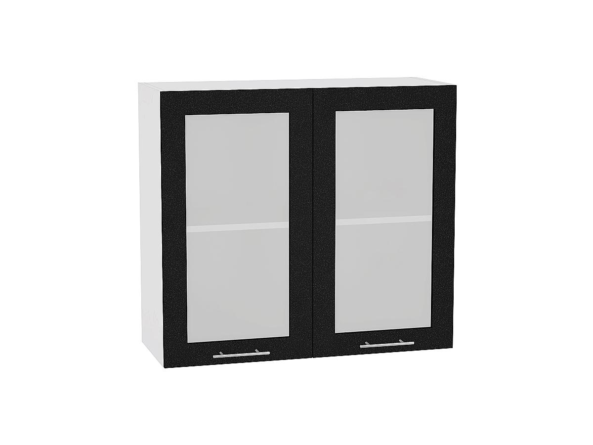 Шкаф верхний Валерия В809 со стеклом (чёрный металлик)