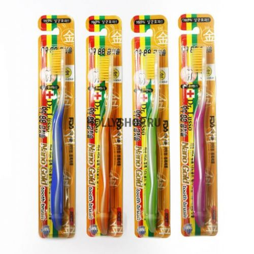 Зубная щётка с золотым напылением Dr Lusso Nano Gold Toothbrush