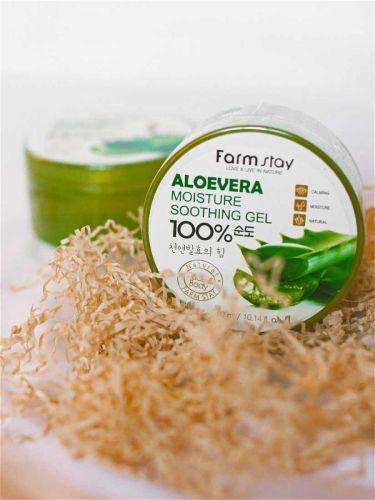 Гель многофункциональный с экстрактом алоэ вера для лица и тела FarmStay moisture soothing gel300мл Original Korea