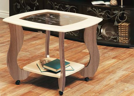 Журнальный столик Сатурн - М01 со стеклом и рисунком